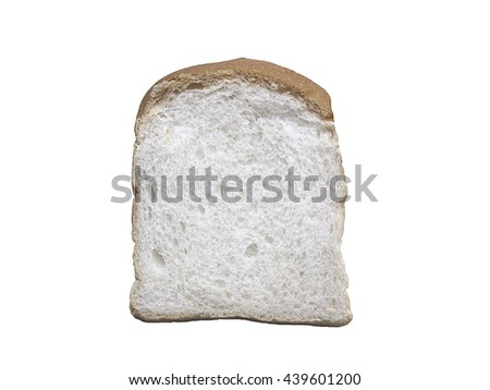 Slice of white bread isolated on white background, made from wheat flour - stock photo