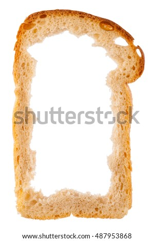 Slice of white bread with center missing, crust as frame