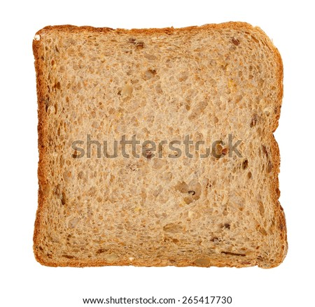 slice of whole wheat toast bread isolated on white - stock photo