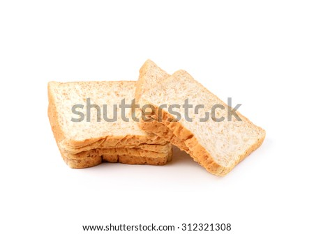 slice of whole wheat toast bread isolated on white Background