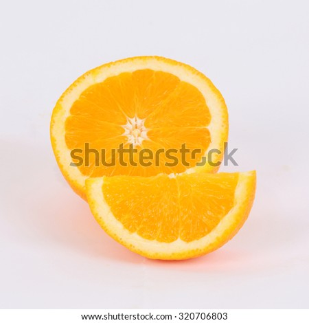slice orange on white back ground