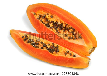 slice papaya  isolated on the white background