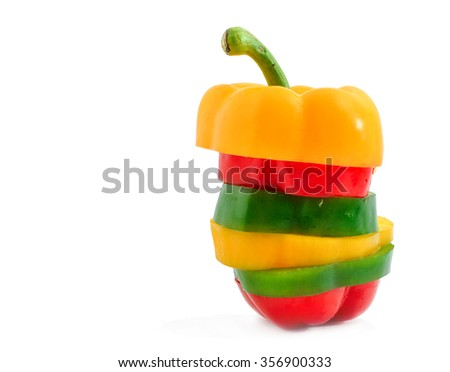 slice pepper bell isolated on white background