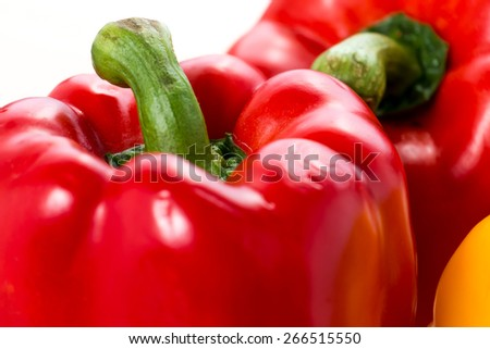 Slice red sweet bell peppers - stock photo