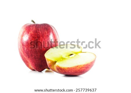 slice ripe apple on white background
