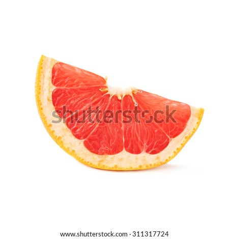 Slice section of ripe grapefruit isolated over the white background - stock photo