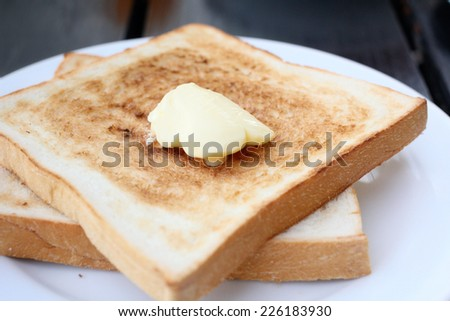 Slice toast bread and butter
