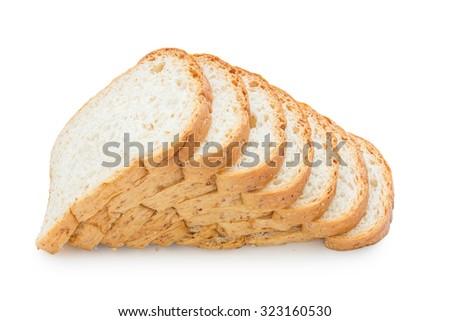 slice whole wheat bread on white background - stock photo