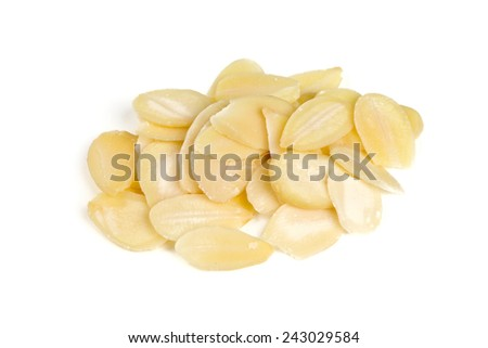 sliced almond isolated on white - stock photo
