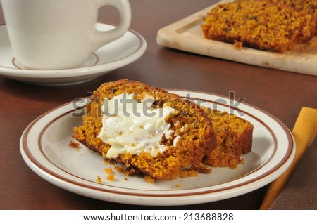 Sliced and buttered pumpkin bread with a cup of coffee
