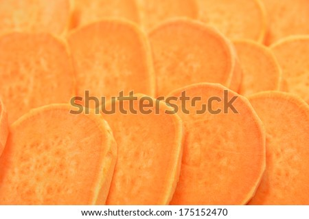 sliced and raw sweet potato for background use - stock photo