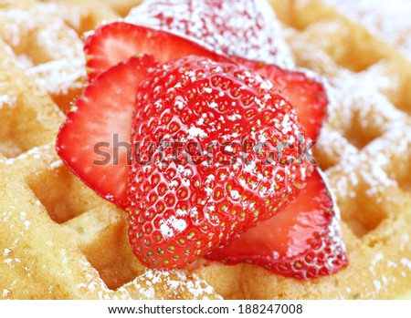 Sliced and sugared strawberries on a waffle.  Macro with selective focus. - stock photo