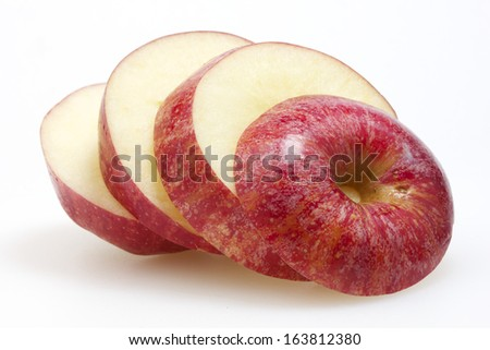 Sliced Apple fruit isolated on white background