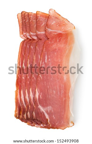 Sliced bacon isolated on a white background - stock photo