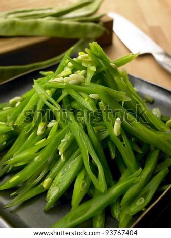 sliced beans - stock photo