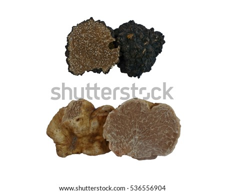 sliced black and white truffles isolated on white
