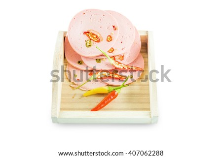 Sliced bologna in block on isolated background with clipping path - stock photo