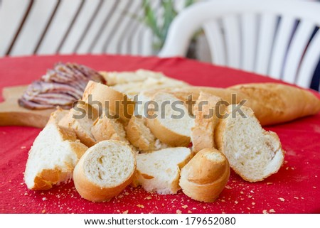sliced �¢??�¢??bread and delicious homemade ham on the table - stock photo