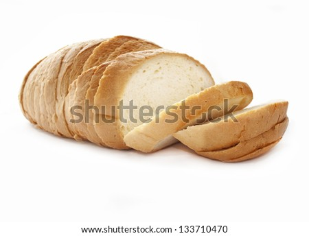 Sliced bread, isolated on white background - stock photo
