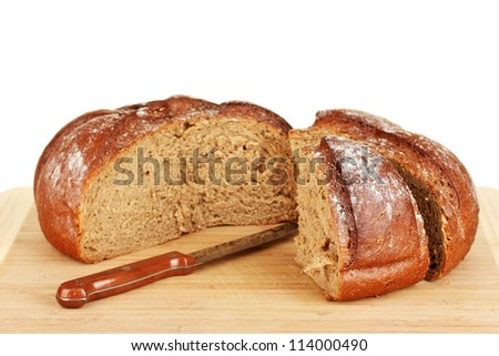 sliced bread on white background close-up