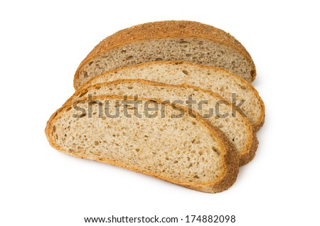 Sliced bread with bran isolated on white background - stock photo