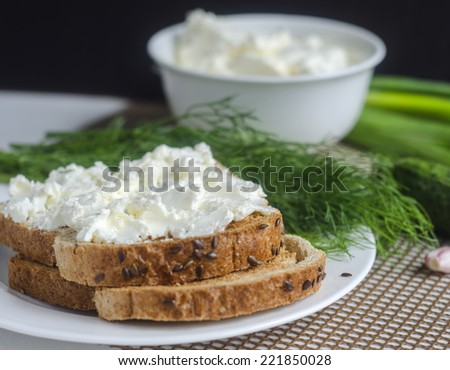 Sliced bread with cream cheese