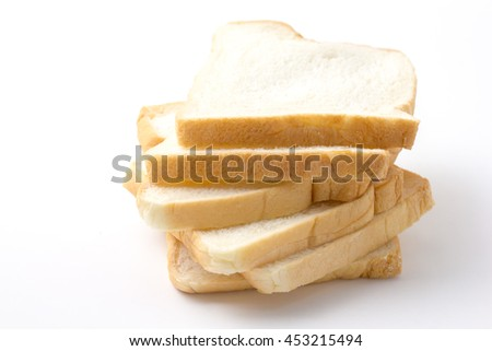 Sliced breads on white background  - stock photo