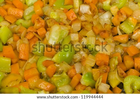 sliced �¢??�¢??browned vegetables closeup - stock photo