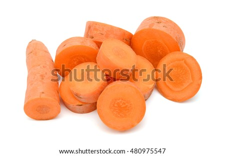 Sliced Carrot isolated on white background