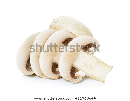 Sliced Champignon mushroom isolated on white background. - stock photo