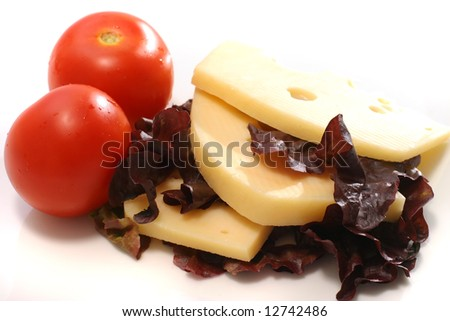 sliced cheese and tomatoes on dish with salad