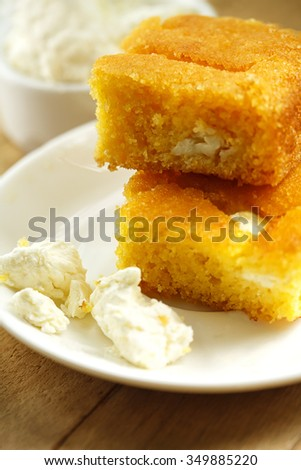 Sliced cheese pie - stock photo