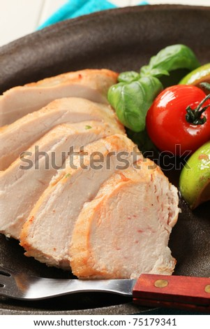 Sliced chicken breast  - stock photo