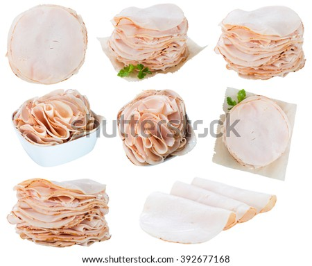 Sliced Chicken Breast Fillet isolated on white (selective  focus) - stock photo