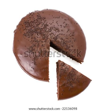 Sliced chocolate fudge cake isolated on white background - stock photo