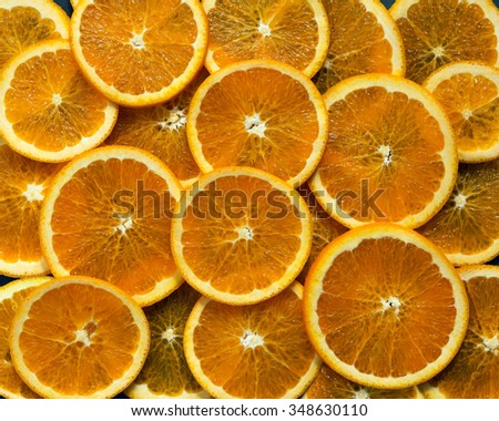sliced circles of oranges, background, pattern