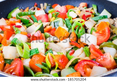 Sliced colorful vegetables in the pan - stock photo