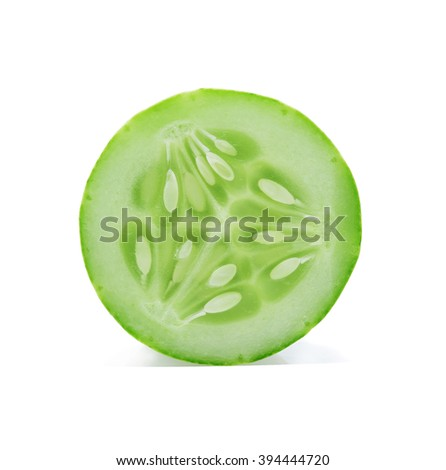 sliced cucumber isolated on white background - stock photo