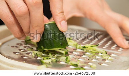 sliced cucumber on a grater