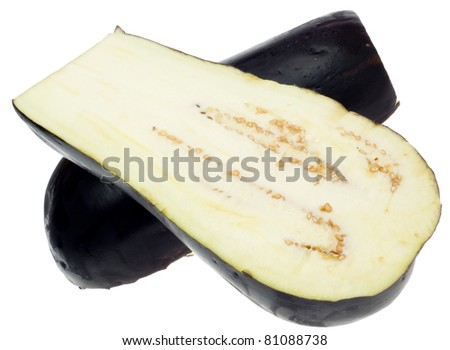 Sliced Eggplant Isolated on White with a Clipping Path.