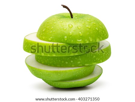 Sliced Fresh Green Apple Isolated on White Background in Full Depth of Field with Clipping Path. - stock photo