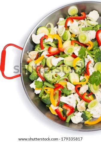 Sliced fresh vegetables in pan isolated on white