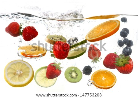 Sliced Fruits Falling Into Splashing Clear Water