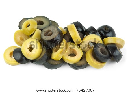 Sliced green and black olives  isolated on the white background - stock photo