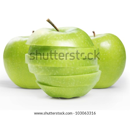 sliced ??green apple isolated on white background
