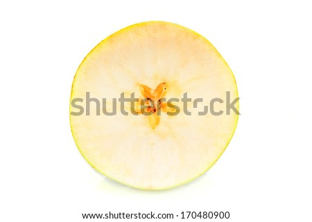 sliced green apples isolated on the white - stock photo