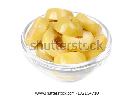 sliced green olives on bowl isolated on the white background  - stock photo