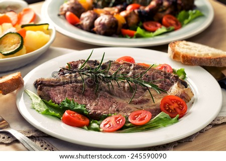 Sliced �¢??�¢??grilled with mixed vegetables - stock photo