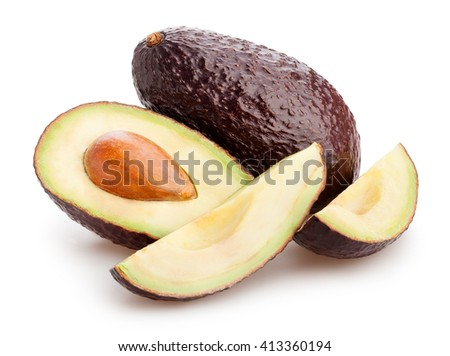 sliced hass avocado isolated