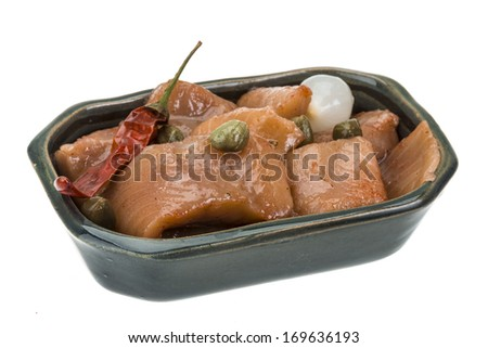 Sliced herring with pepper and onion